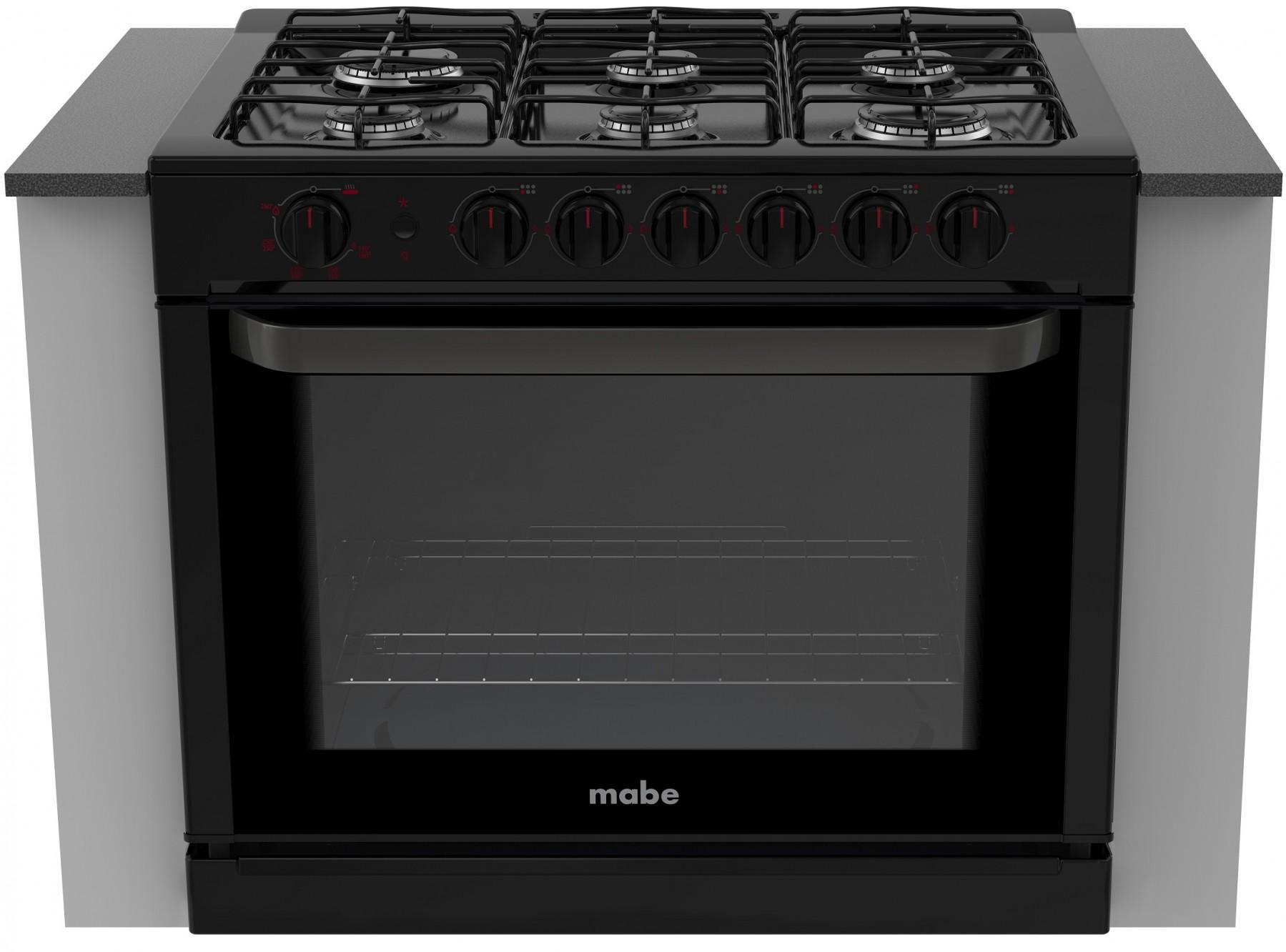 Intermuebles estufa de gas marca mabe color negra 80cm for Estufa profesional