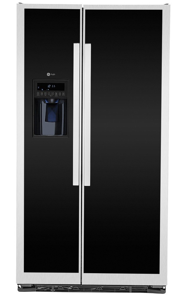 intermuebles refrigerador duplex ge profile vidrio negro. Black Bedroom Furniture Sets. Home Design Ideas